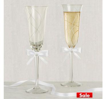 White Bow Swirl Wedding Toasting Glasses