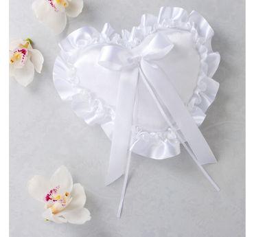 White Heart Ring Bearer Pillow
