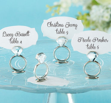 Silver Wedding Ring Place Card Holders