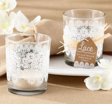 Lace Print Tealight Candle Holders
