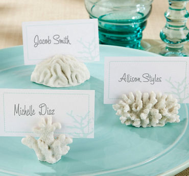White Coral Place Card Holders