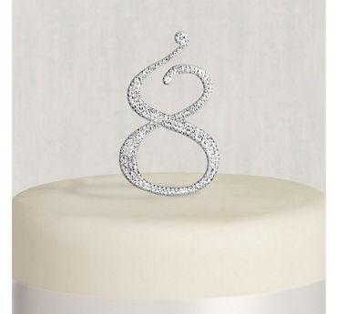 Rhinestone Silver Number 8 Cake Topper