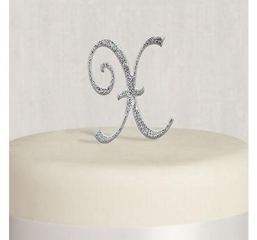 Rhinestone Silver Monogram X Cake Topper
