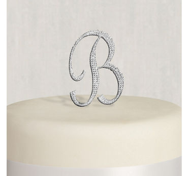 Rhinestone Silver Monogram B Cake Topper