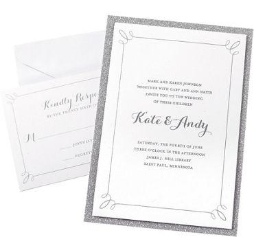 Glitter Silver Printable Wedding Invitations Kit 50ct