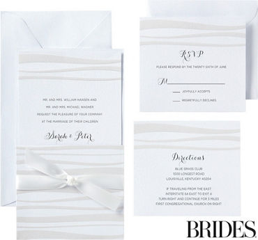 Beige Waves Pocket Printable Wedding Invitations Kit 30ct