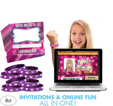 Princess Invite Bandz Online Party Invitation Wristbands for 8