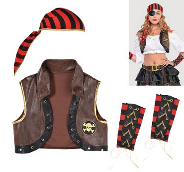 Swashbuckler Pirate Costume Kit 3pc