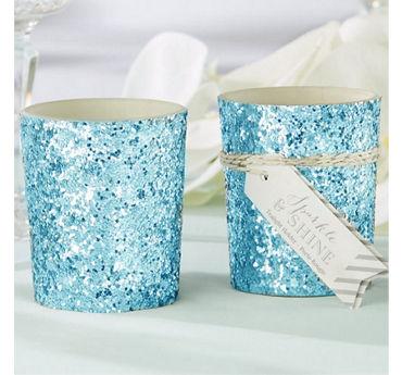 Blue Glitter Tealight Candle Holder