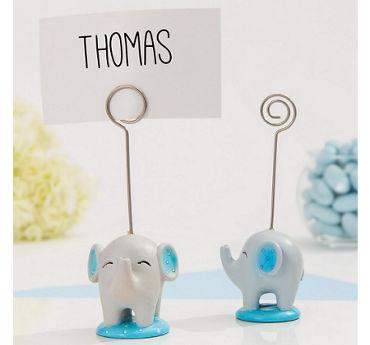 Blue Baby Elephant Place Card Holder