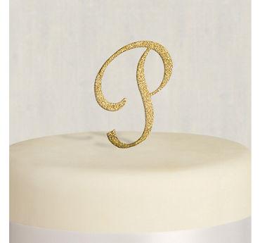 Rhinestone Gold Monogram P Cake Topper