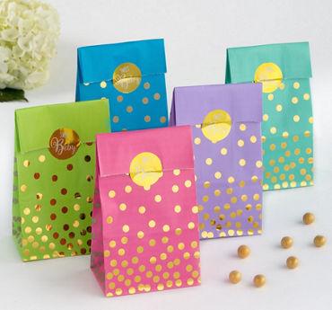 Gender-Neutral Gold Polka Dot Baby Shower Treat Bags 20ct