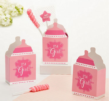 Pink It's a Girl Baby Shower Favor Boxes 24ct