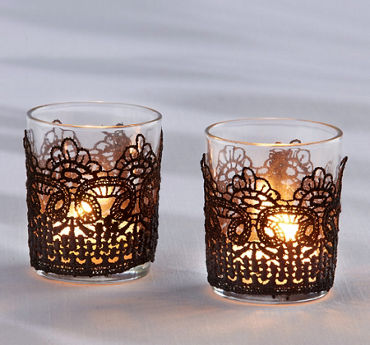 Black Lace Tealight Candle Holders