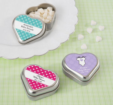 Generic Baby Personalized Baby Shower Heart-Shaped Mint Tins with Candy (Printed Label)