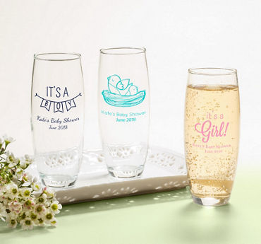 Generic Baby Personalized Baby Shower Stemless Champagne Flutes (Printed Glass)