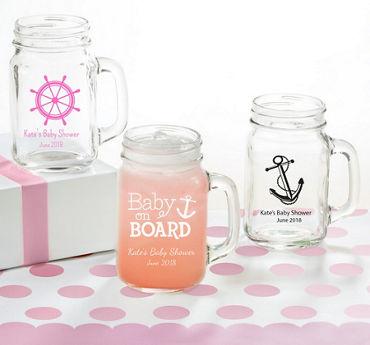 Baby Girl Personalized Baby Shower Mason Jar Mugs (Printed Glass)