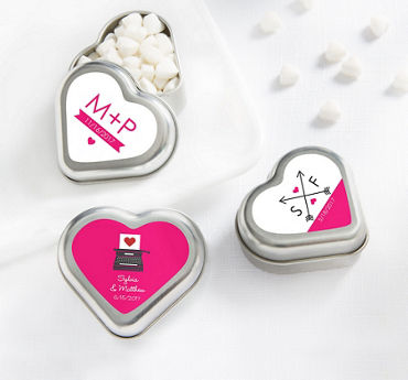Personalized Heart-Shaped Mint Tins with Candy (Printed Label)