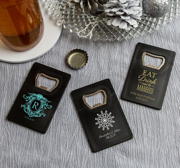 Personalized Credit Card Bottle Openers - Black (Printed Plastic)