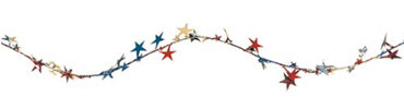 Patriotic Prismatic Stars Wire Holiday Garland 18ft