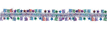 Jewel Tone New Year Tinsel Garland 15ft