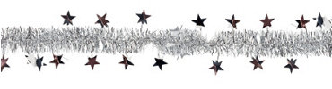 Silver Star Tinsel Garland 8ft