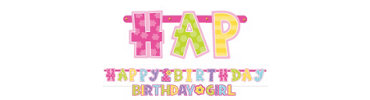 Girl 1st Birthday Letter Banner Combo Pack 2ct