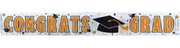 Orange Foil Fringe Graduation Banner 65in