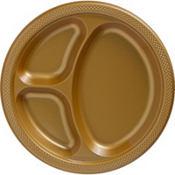 Gold Plastic Divided Dinner Plates 20ct