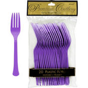 Purple Premium Plastic Forks 20ct
