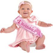 Girl's 1st Birthday Sash 14 1/2in