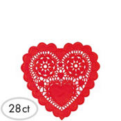 Red Heart Shaped 3 1/2in Doilies 28ct