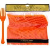 Orange Premium Plastic Forks 48ct