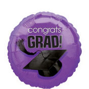 Foil Purple Congrats Grad Graduation Balloon 18in