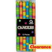 Multicolor Striped Birthday Candles 12ct
