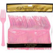 Pink Premium Plastic Forks 48ct