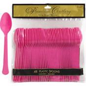 Bright Pink Premium Plastic Spoons 48ct