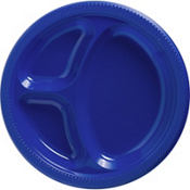 Royal Blue Plastic Divided Dinner Plates 20ct