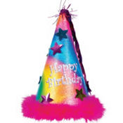 Rainbow Glitter Happy Birthday Party Hat