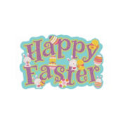 Glitter Happy Easter Cutout 23in