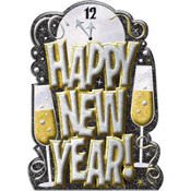 Happy New Year 3D Glitter Cutout 21in