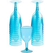 Transparent Blue Plastic Wine Glasses 8oz 20ct