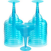 Transparent Blue Plastic Margarita Glasses 8oz 20ct