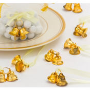 Gold Double Bell Wedding Favor Charms 12ct