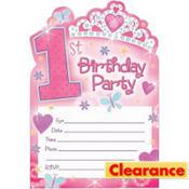 Princess 1st Birthday Invitations 20ct