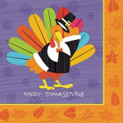 Fun Turkey Beverage Napkins 16ct