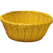 Yellow Round Serving Basket 8 1/4in x 3 1/4in