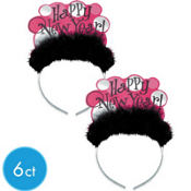 Pink and Black New Years Tiaras 7 1/2in 6ct <span class=messagesale><br><b>$1.16 per piece!</b></br></span>