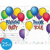 Balloon Fun Invitations and Thank You Notes Value Pack 50ct