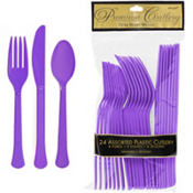 Purple Premium Plastic Cutlery Set 24ct